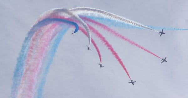 Red Arrows perform at Silverstone F1 GP
